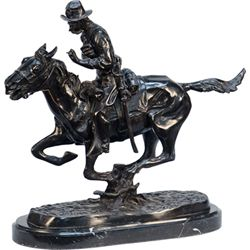 """Trooper Of The Plains"" Cowboy On Running Horse Figural"