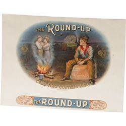 "Early ""The Round-Up"" Cigar Embossed Paper Box Top"