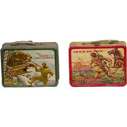 Lot Of 2 Vintage Metal Davy Crockett Lunch Boxes