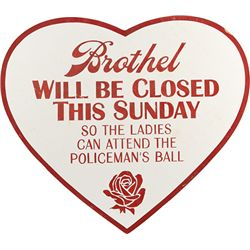 "Hand-Painted ""Brothel Will Be Closed This Sunday"" Heart"