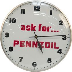 "Vintage ""Ask For...PENNZOIL"" Wall Clock"