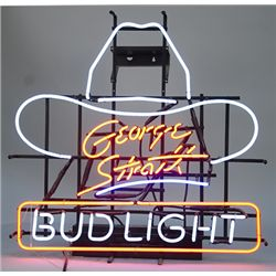 """George Strait - BUD LIGHT"" Neon Light - (Cowboy Hat)"