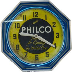 "Vintage Philco Neon Clock ""Famous For Quality The World"