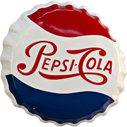 Pepsi-Cola Embossed Bottle Cap Shaped Tin Sign