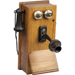Antique Oak Western Electric Hand-Crank Telephone