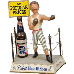 Vintage Pabst Blue Ribbon Bar Counter Metal Boxer In Ri