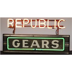 "Vintage ""REPUBLIC GEARS"" Metal Case & Neon Sign"