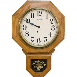 Ingraham Oak Wall Advertisement Clock w/