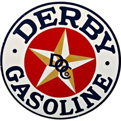 "Large Round ""Derby Gasoline"" Double Sided Porcelain Sig"