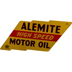 """Alemite High Speed Motor Oil"" Double Sided Metal Sign"