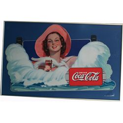 Drink Coca Cola Die-Cut Cardboard Sign c1936
