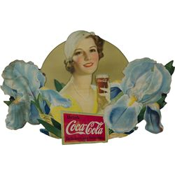 Drink Coca Cola Die-Cut Cardboard Sign c1933