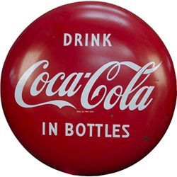 Drink Coca Cola In Bottles Porcelain Button Sign