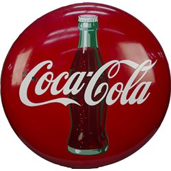 Coca Cola w/ Bottle Porcelain Button Sign