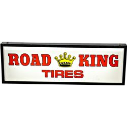 """ROAD KING TIRES"" Plastic, Metal Frame Light-Up Adverti"