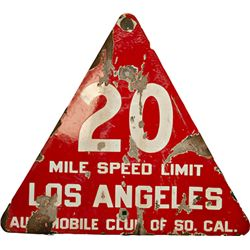 """20 Mile Speed Limit, Los Angeles"" Triangular Red Por"
