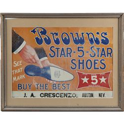 """Brown's Star-5-Star Shoes"" Embossed Tin Sign"