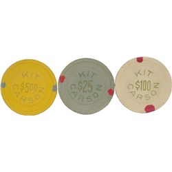 Set of 3 Kit Carson Casino Chips $5, $25, $100 c1946