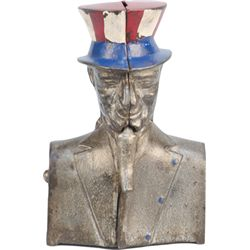 Antique Cast-Iron Mechanical Ives, Uncle Sam Bust Bank