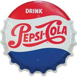 Drink Pepsi-Cola Embossed Bottle Cap Shaped Tin Sign