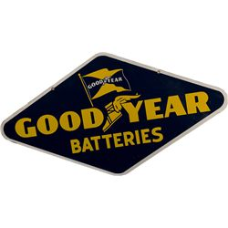 """GOODYEAR Batteries"" Double Sided Porclain Sign"