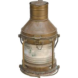 "Large Copper & Glass ""Anchor"" Ship Lantern"
