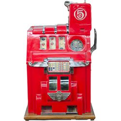 5 Cent Pace MFG. Co. Deluxe Cherry Bell Slot Machine c1