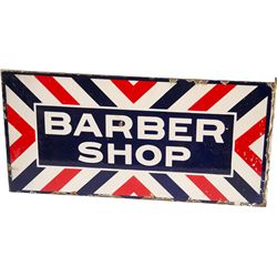 """BARBER SHOP"" Double Sided Flange Porcelain Sign"