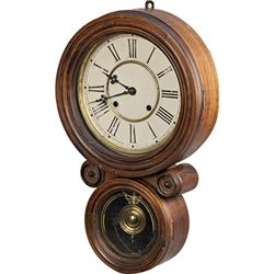Oak Waterbury Wall Clock c1880's