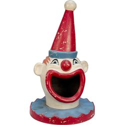 Fiberglass Figural Clown Head Garbage Can Topper