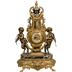 Fancy Brass & Marble Imperial German Mantle Clock