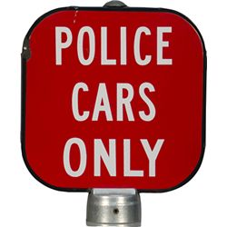"Vintage ""Police Cars Only"" Double Sided Pole Topper Por"