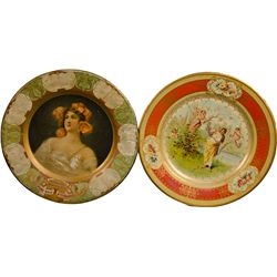 Lot Of 2 Antique Beer Round Tin Serving Trays: