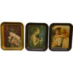 Lot Of 3 Early Tin Serving Trays: