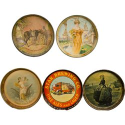 Lot Of 5 Beer Deep-Dish Round Tin Serving Trays: