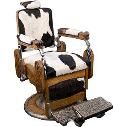 Early Oak Koken Barber Chair c1895 w/ Cow Hide Upholste