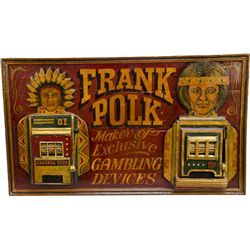 Frank Polk 3-D Hand-Painted Wood Sign