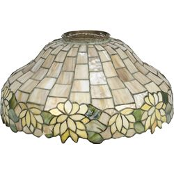Stained Glass Hanging Lamp Shade Signed