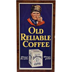 """Old Reliable Coffee"" Paper Advertisement Sign"