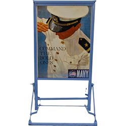 US Navy Recruiting Double Sided Tin, Metal Frame