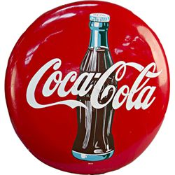 Coca Cola w/ Bottle Tin Button Sign c1955