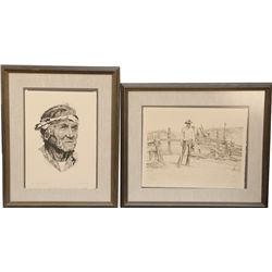 Lot Of 2 Signed And Numbered Drawings In Frames: