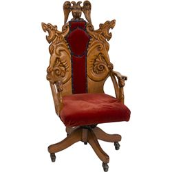 Early Wood Carved Ornate Desk Chair