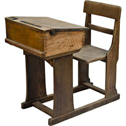 Early Wooden School House Push-Top Attatched Chair