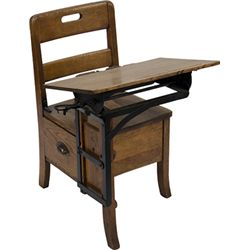 Early Oak School House Child's Desk w/ Attatched Chair