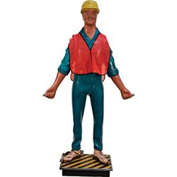 Lifesize Fiberglass Construction Man c1960's