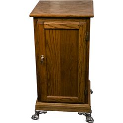 Wood Slot Machine Stand w/ Leaded Glass Window Door