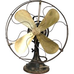 Early Cast-Iron Base, Brass Blades GE Electric Fan c192