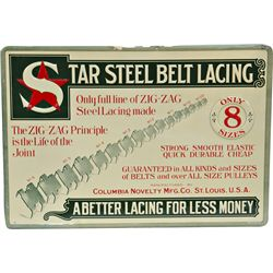 """Star Steel Belt Lacing"" Embossed Tin Sign"