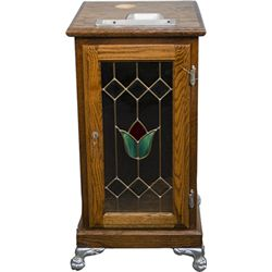 Oak Slot Machine Stand w/ Leaded Glass Door